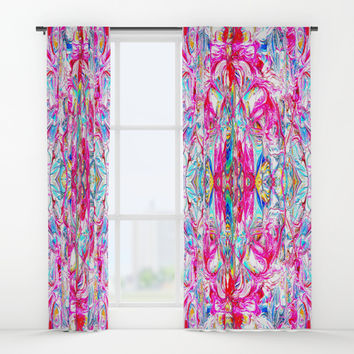 Sophisticated Psychedelic Boho II Window Curtains by Azima