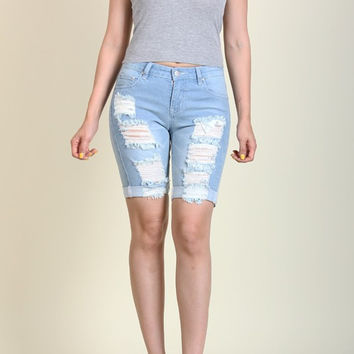 Bermuda Destroyed Denim Shorts