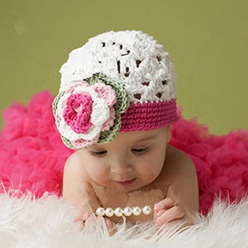 Tinksky Cute Lace Style Baby Infant Newborn Hand Knitted Crochet Hat with Skirt Baby Photograph Props Set