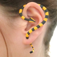 Striped yellow and black Banded Krait snake ear cuff, Fake snake gauge,snake earring