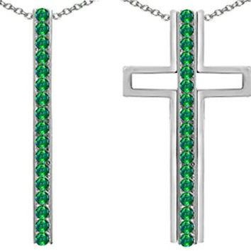 Star K 2 1 Straight Path Cross Pendant wtih Round Simulated Emerald