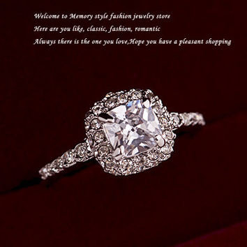 High-quality White 18K Gold Plated transparent Cubic zircon Engagement Promise Wedding Ring Surrounded By Tiny Austria Crystals
