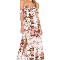 FLYNN SKYE x REVOLVE Bardot Maxi Dress in White Rose