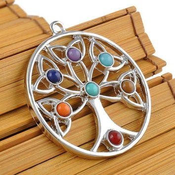 Energy Jewelry Women Charm Nature Beads Reiki Healing Point Chakra Pendant Crystal  Tree Flower Angel Wings Pattern Necklace