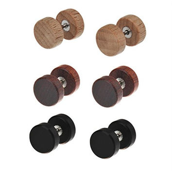 IPINK Wood Cheater Fake Ear Plugs Gauges Illusion Tunnel Screw Stud Earrings 3 Pairs Set Assorted Color