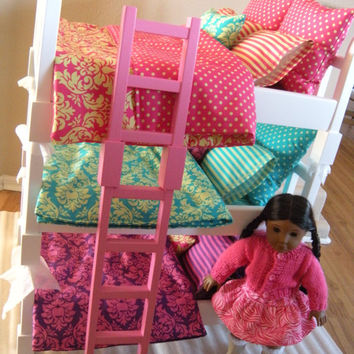 AVAILABLE for APRIL SHIP - Doll Bunk Bed - Double-sized Triple Bunk Set - Fits 6 American Girl Dolls or 18-inch Dolls - Parisian Bedding