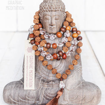 Crystal quartz and silver mala beads, Rudraksha crystal rosary, 108 mala beads, Womens mala, Healing crystals mala, Tassel necklace