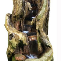 Electric Outdoor Waterfall Fountain w/ LED Lights