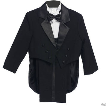 Formal Black Tuxedo with Tail Cummerbund Bowtie Suit (Size S, M, L, XL only) - Boy Teen Toddler Ring Bearer