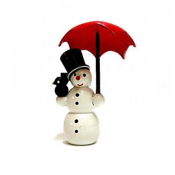Wooden Snowman Ornament Frosty Hand Painted Red Unbrella Made in GDR Vintage Christmas