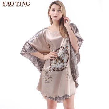 RB025 Summer silk ladies plus size sleepwear women's nightdresses comfortable satin silk nightgowns floral  nightshirts
