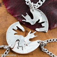 3 Best friends interlocking ASL love hands necklaces