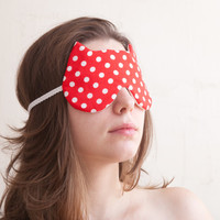 Polka dot Sleep Mask. Cat