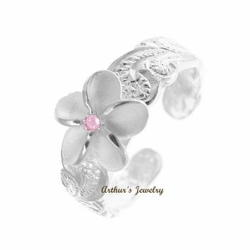 STERLING SILVER 925 8MM HAWAIIAN PLUMERIA SCROLL TOE RING CUT OUT EDGE PINK CZ