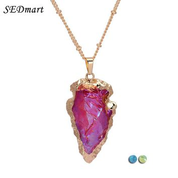 SEDmart Shiny Rose Arrowhead Aura Quartz Crystal Pendant Necklace Irregular Arrow Natural Stone Necklace Jewelry Women Gift