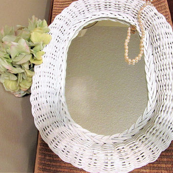 White Wicker Mirror Oval Wall Hanging Home Decor Vintage blm
