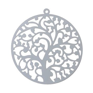 "DoreenBeads Filigree Stainless Steel Charm Pendants Round Silver Tone Tree Carved Hollow 43mm(1 6/8"") x 40mm(1 5/8""),1 Piece"
