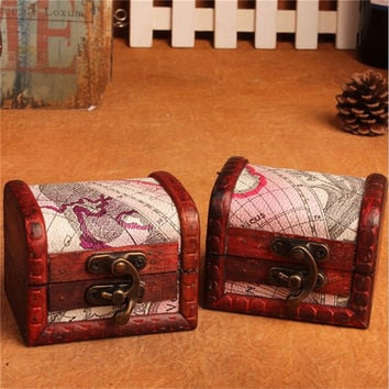 Vintage Jewelry Storage Box Map Pattern Small Metal Lock Case Rings Pendant Treasure Wooden Chest Handmade Wood Boxes 1 PCS/LOT