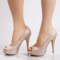 Hot Hot-Glitter Pump in Blush by Chinese Laundry in Shoes All Shoes at Frock Candy