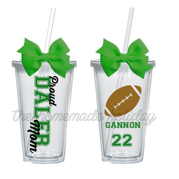 Football mom acrylic tumblers, show your team support with a custom team mom cup!