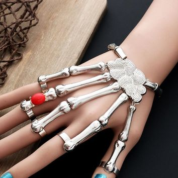 Steampunk Halloween Skeleton Hand Bracelet Femme Nightclub Punk Red Stone Skull Finger Bracelets Bangles For Women Pulseras