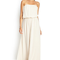 FOREVER 21 Strapless Chiffon Maxi Dress Taupe