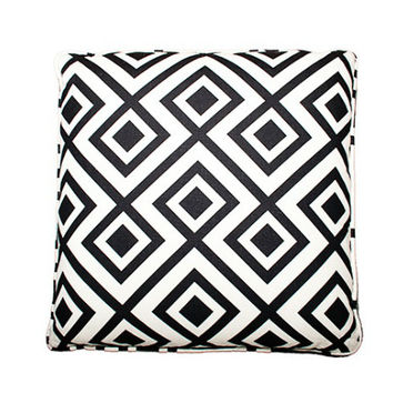 Black White Geo Pillow by Designer Fluff