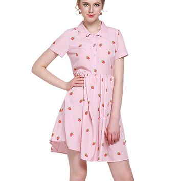 HaoDuoYi Women's Casual High Waist Strawberry Print Button Mini Dress