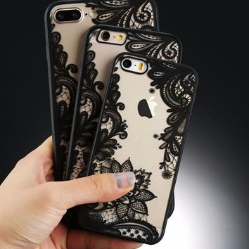 Apple iPhone Henne Lace Flower Phone Case 7 Plus/7/6s/6 Plus/5s SE -  Hard TPU