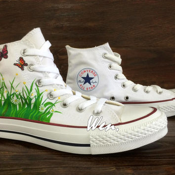 WEN Original Design Nature Flower Butterfly Floral Inspired Design Hand Painted Shoes,Converse Chuck Taylor Canvas Shoes Christmas Gifts