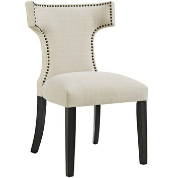 Curve Fabric Dining Chair Beige EEI-2221-BEI