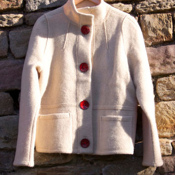 Boiled Wool Beige Women Jacket