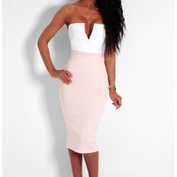Candy Dream Cream & Nude Contrast Plunge Strapless Dress | Pink Boutique