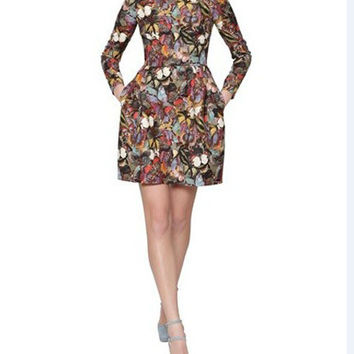 Butterfly Print Long-Sleeve Dress With Pocket