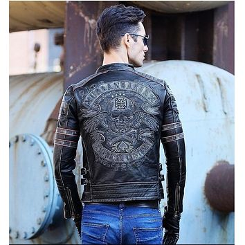 DHL Free .Brand clothing mens skull genuine leather Jackets,men's Edge vintage biker jacket.plus size homme Fitness