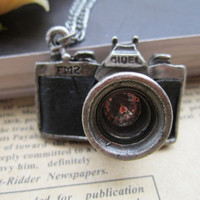 Antique silver black camera Pendant Necklace SK208 by piolk