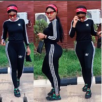 """""""ADIDAS""""stripe sports suit two piece Suit Top With Trouser"""