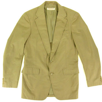 Vintage Brooks Brothers Khaki Blazer - Slim Suit Preppy Jacket Ivy League Menswear - Men's Size 37 Small Medium Sm Med S M