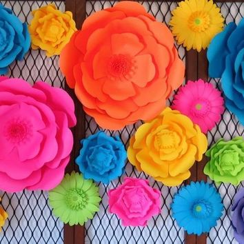 Neon Roses, Giant Paper Flowers, Wedding Background, Flower Wall Set of 18 , Large 80's Party Decorations, Photo Backdrop, Roller Skate Party, Birthday Skating Event 6-18""