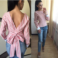 Striped Print Backless V Bow Knot Long Sleeve Blouse