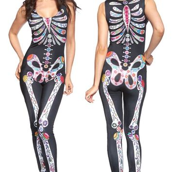 Classic Sexy halloween costumes for women 2016 new Cosplay Jumpsuit Sugar Skull Adult Womens Halloween Catsuit Costume LC8854