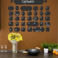 Vintage Chalkboard Calendar wall saying vinyl lettering home decor decal stickers quotes