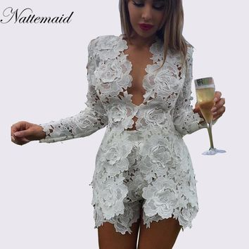 NATTEMAID Elegant Sexy 2 Piece Set Summer Women Lace Hollow Out 2 pieces dresses sets Casual deep v-neck Bodycon outsuits