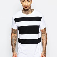 ASOS Longline T-Shirt With Cut & Sew Stripe Panels