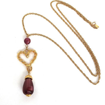 Vintage Long AVON Necklace Purple Pendant Amethyst Teardrop w Heart Dangle Designer Signed