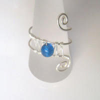 Handmade Silver Plated Cobalt Blue Crackle Glass Wire Wrap Ring, Wire Weave, Spirals