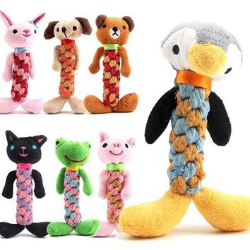 8 Types Funny Squeaker Pet Training Toys Creative Pet Items Mixed Color Puppy Grinding Teeth Built-in Bell Rope Environmental Fr