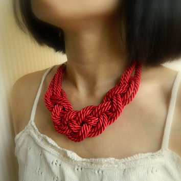Red Sailor Knot /Japanese Knot Necklace/choker, Rope Necklace, Nautical Necklace, bib necklace, fiber necklace, for her
