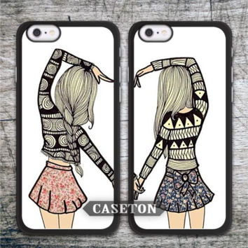 BFF Heart Matching Best Friends Lovely Protective Case For iPhone 7 6 6s Plus 5 5s SE 5c 4 4s and For iPod 5