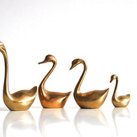 Brass Figurines Swan Collection - Set of 4